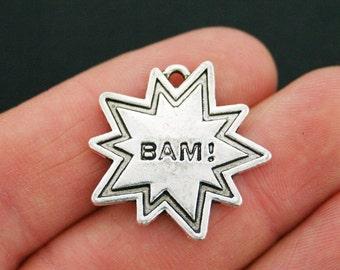 2 Superhero Comic Charms Antique Silver Tone BAM! - SC5396