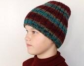 Striped Hand Knit  Hat Beanie