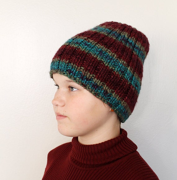 Hand Knitted Hat Patterns : Striped Hand Knit Hat Beanie