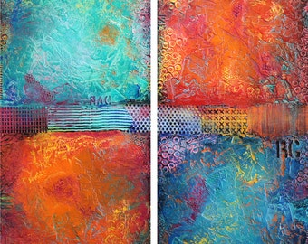 "60""x60"" ORIGINAL Huge Abstract Painting Textured MODERN (2 30x60 Wood Panels) Colorful Fine Art by Maria Farias"