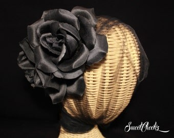 Black Double Rose Flower Side Comb / Pinup / Wedding Hair Accessory