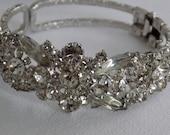 Vintage crystal filled clamper cuff Juliana D & E style bracelet, elegant statement bracelet