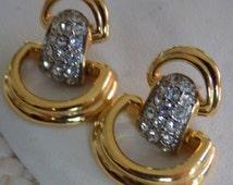 Vintage earrings, Swarovski swan mark crystal and gold plate doorknocker stud earrings