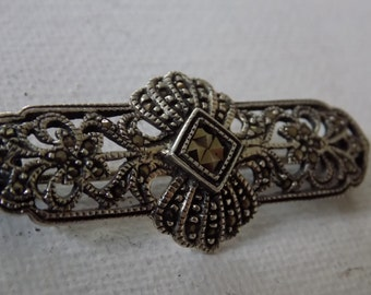 Vintage brooch, Art Deco marcasite and sterling silver 925 antique brooch, Art Deco jewelry, classic elegance, vintage jewelry