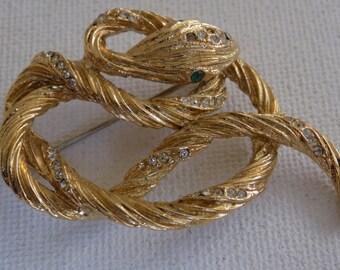Vintage brooch, snake brooch, retro jewelry, figural brooch, statement brooch, vintage jewelry