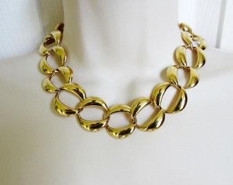 "Napier Gold Plated Large Link Necklace 17"" Vintage 80s"