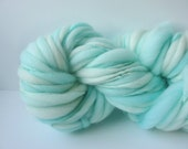 Handspun Chunky Yarn, Hand Painted Yarn, Thick and Thin Yarn, photo prop, baby bump blanket yarn,  doll hair 54 yds Pale Aqua
