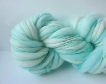 Handspun Chunky Yarn, Hand Painted Yarn, Thick and Thin Yarn, photo prop, baby bump blanket yarn,  doll hair 50 yds Pale Aqua