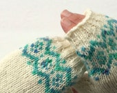 Hand Knit Fingerless Mittens Fairisle Texting Gloves Winter White with Aqua Trim