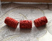 8 pcs of Vintage Carved Doliform Cinnabar Cash Roll,red Spacer beads,red lotus Spacer beads,, Cinnabar beads