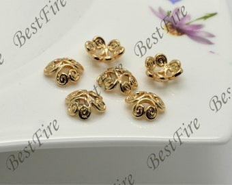 10 pcs 8mm 24K Gold Filled Four Leaf Clover Flower Bead Cap,filled Brass Bead Cap, Charms Jewelry Findings,Gold Filled Simple Bead Cap