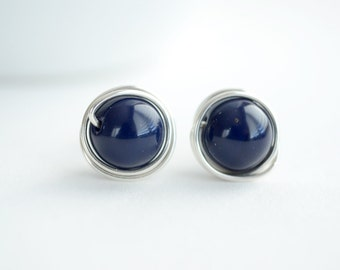 Dark Blue Stud Earrings, Wire Wrapped, Sterling Silver, Gifts For Her
