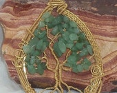 Gold colored wire Tree of Life with Jade chip beads