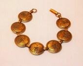 Mid Century Copper Link Bracelet 1950s Vintage Circle Lightening Medallions