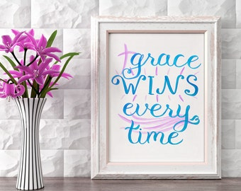 Christian Wall Art ~ Grace Wins Every Time ~ Hand-Lettered Design ~ Purple Blue