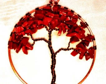 Wire Wrapped Autumn Tree of Life Ornament