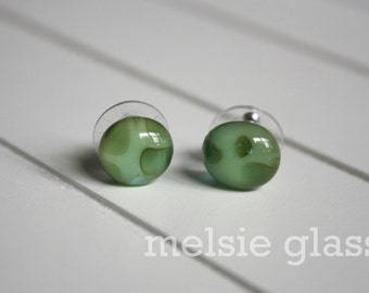 Camouflage glass earrings - sea glass studs, sea green, army, camp, fatigues