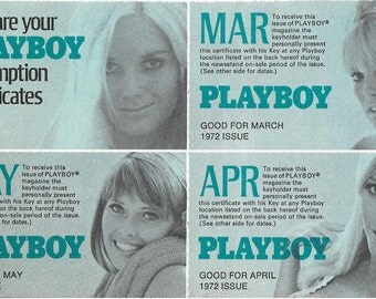 Vintage 1970's PLAYBOY Redemption Certificates - Free 1972 Issues For PLAYBOY Club Members