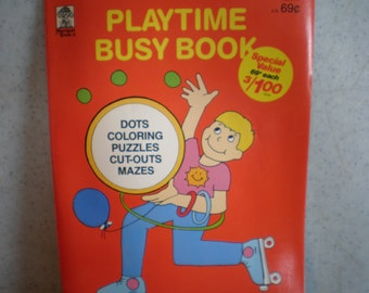 Vintage 1970's Unused Children's Playtime Busy Book - Coloring Book