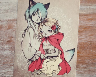 Red Riding Hood and The Wolf - Open edition art postcard - made to order