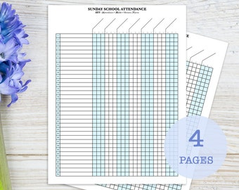 Sunday School Attendance Sheet with Birthday Tracker, printable