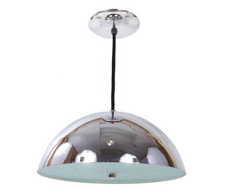 Chrome and Dome Ceiling Light - Mid Century Modern - Vintage 1970's - Working