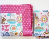 Double Flannel Receiving Blanket in Woodland Animal Print with Pink Back plus FREE burp cloth, Baby Blanket, Flannel Blanket, Infant Blanket
