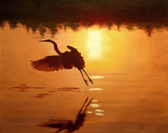 White Egret 11 x 17 print (image 10.5 x 12.75) personally signed by artist RUSTY RUST / E-116-P