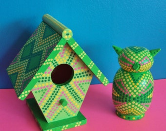 Handpainted Green Birdhouse with Green Owl/Dots and Geometric Designs/Mini-Sized/Shelf or Desktop Decoration/Gift Set
