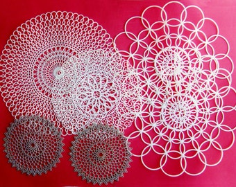 Vintage Plastic Doilies 4 White 2 Silver Lacy Retro Holiday Christmas Decor Mid Century Kitsch