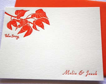 Personalized Letterpress Stationery Hawaii Poha Berries Leaves Orange
