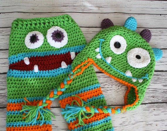 Crochet Pattern Baby Monster Pants : Monster Hat Crochet Monster Baby Pants and Hat Set Baby