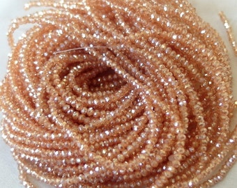 "TWO 16"" STRANDS tiny Light Fiery Opal Faceted Crystal Beads, 3mm x 2mm, 200 beads each strand"