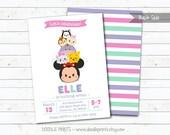 "Tsum Tsum Minnie Mouse Birthday Party Invitation, Disney Tsum Tsum Inspired Invitation, Customized Printable Invitation - size 5x7 or 4x6"""