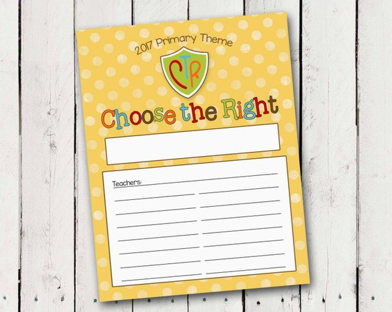 "2017 LDS Primary Door Signs ""Choose the Right"" Instant Download"