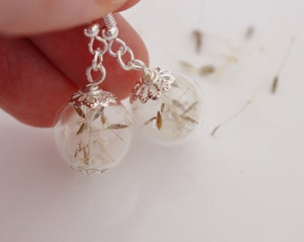 Dandelion Earrings, Hand Blown Glass, Sterling Silver, Nature Earrings, Gift for Her