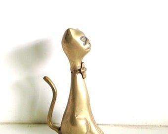 Midcentury Brass Cat