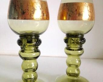 Vintage Green & Gold Pedestal Glasses