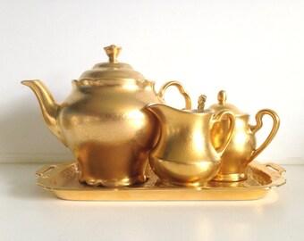 Antique Pickard Gold Plated Tea Set