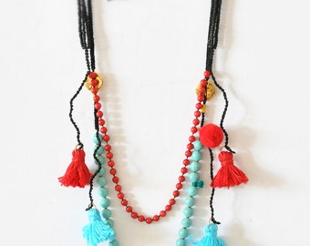 Coral Gemstone Necklace,  Chaolite Gemstone Necklace,  Turquoise and Red Tassel Necklaces,  Bohemian Necklaces,  Boho Set of 2