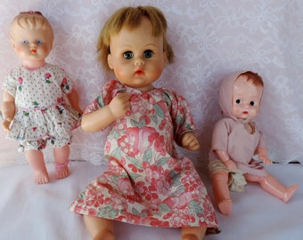 Vintage Babydoll Doll Lot of 3 Dolls American Character and Other Companies Closeout Overstock Good Deal Handmade Doll Clothing