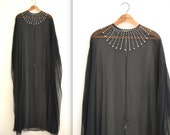 Vintage Black Silk Caftan Sheer Black Cape Poncho with Rhinestones Black Silk Chiffon Dress Caftan Beach Cover up Maternity Cover Up