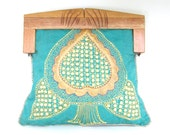 1960's Clutch Purse with Wood Frame and Indian Embroidered Textile VINTAGE Teal blue