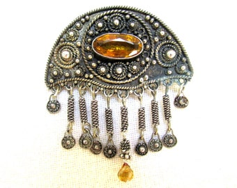 ISRAEL Sterling Silver and Citrine Pendant or Brooch VINTAGE 1950s Estate Jewelry