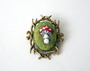 Toadstool needle felted brooch