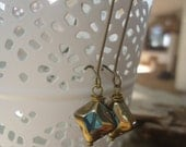 OLD TURQUOISE GLASS - bronze vintage earrings (1156)