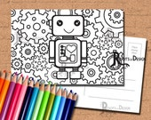 INSTANT DOWNLOAD Coloring Postcard Page - Robot Color your own fun Postcards, doodle art, printable, Coloring Postcards