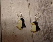 Handmade Enameled Penguin Earrings on Silver Plated Lever Back Wires