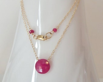Ruby Gemstone Natural Solitaire Wire Wrapped with 14k Gold Fill Handmade Necklace