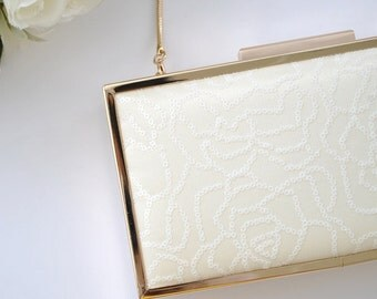 IVORY Sequin Rose clutch - Bridal clutch/Evening clutch/ FREE SHIPPING